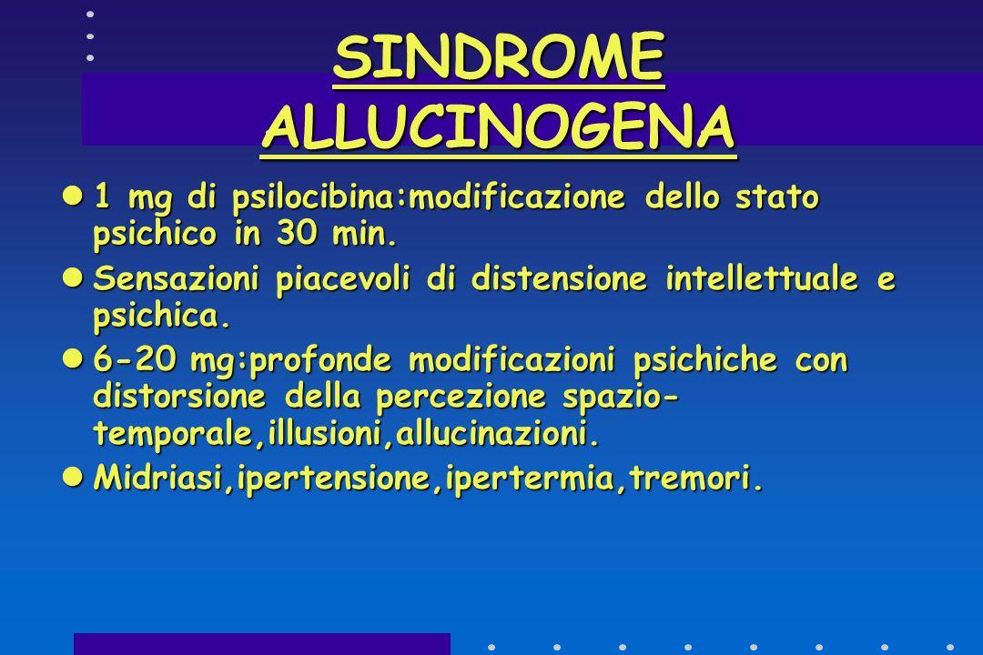 SINDROME ALLUCINOGENA PRESENZA DI COMPOSTO SIMILE A LSD. PRESENZA DI COMPOSTO SIMILE A LSD. PSILOCINA-PSILOCIBINA. PSILOCINA-PSILOCIBINA. MAYA-ATZECHI