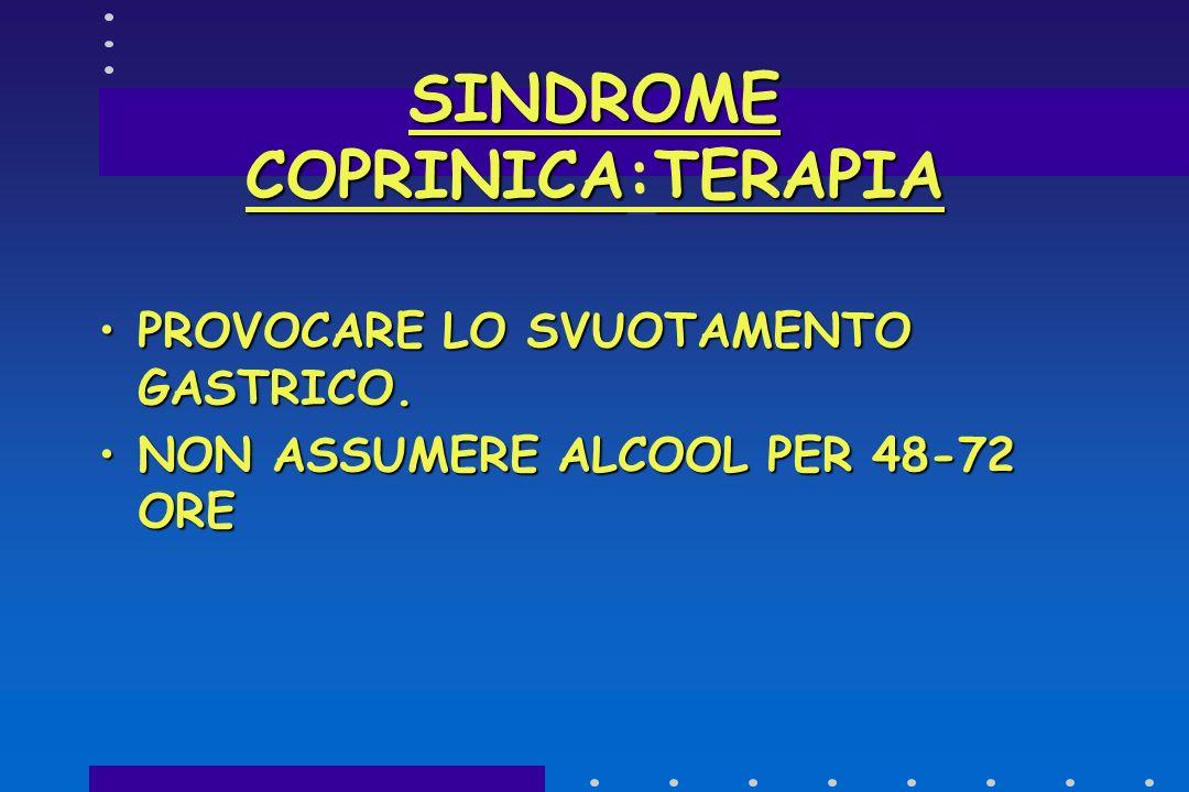 SINDROME COPRINICA: SINTOMI TACHICARDIATACHICARDIA SUDORAZIONE PROFUSASUDORAZIONE PROFUSA ERUZIONI CUTANEE(FLASH) SU VISO E COLLO(TORACE E BRACCIA)ERU
