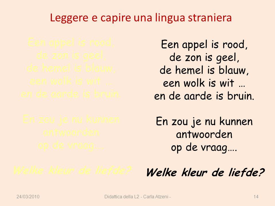 Didattica della L2 - Carla Atzeni -14 Leggere e capire una lingua straniera Een appel is rood, de zon is geel, de hemel is blauw, een wolk is wit … en
