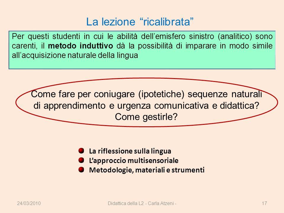 Didattica della L2 - Carla Atzeni -17 La lezione ricalibrata Come fare per coniugare (ipotetiche) sequenze naturali di apprendimento e urgenza comunic