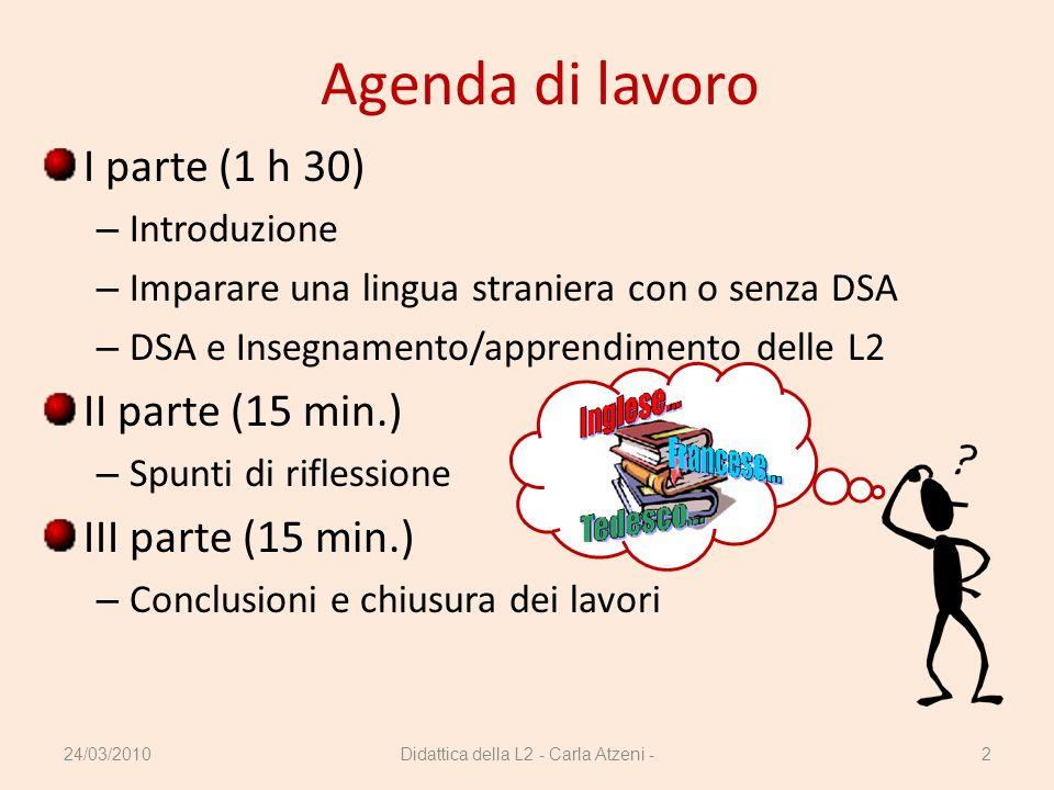 Agenda di lavoro I parte (1 h 30) – Introduzione – Imparare una lingua straniera con o senza DSA – DSA e Insegnamento/apprendimento delle L2 II parte