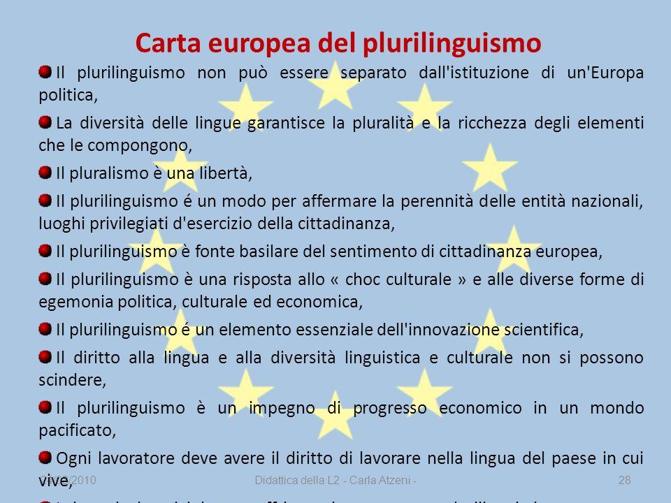 24/03/2010Didattica della L2 - Carla Atzeni -28 Il plurilinguismo non può essere separato dall'istituzione di un'Europa politica, La diversità delle l