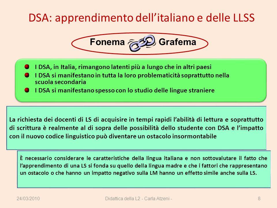 Didattica della L2 - Carla Atzeni -8 DSA: apprendimento dellitaliano e delle LLSS GrafemaFonema I DSA, in Italia, rimangono latenti più a lungo che in