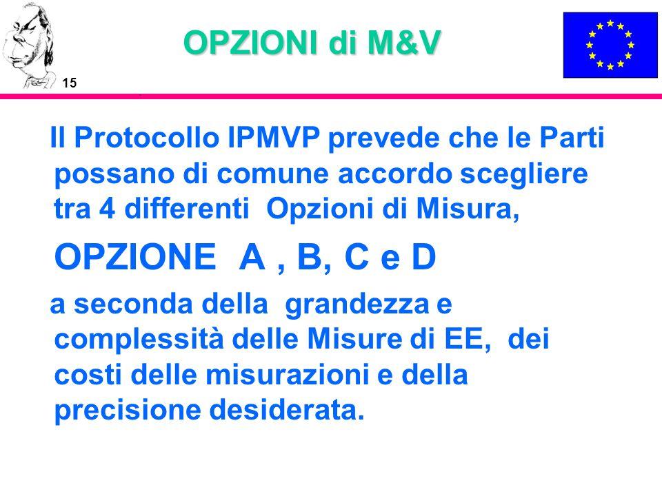 15 OPZIONI di M&V Il Protocollo IPMVP prevede che le Parti possano di comune accordo scegliere tra 4 differenti Opzioni di Misura, OPZIONE A, B, C e D