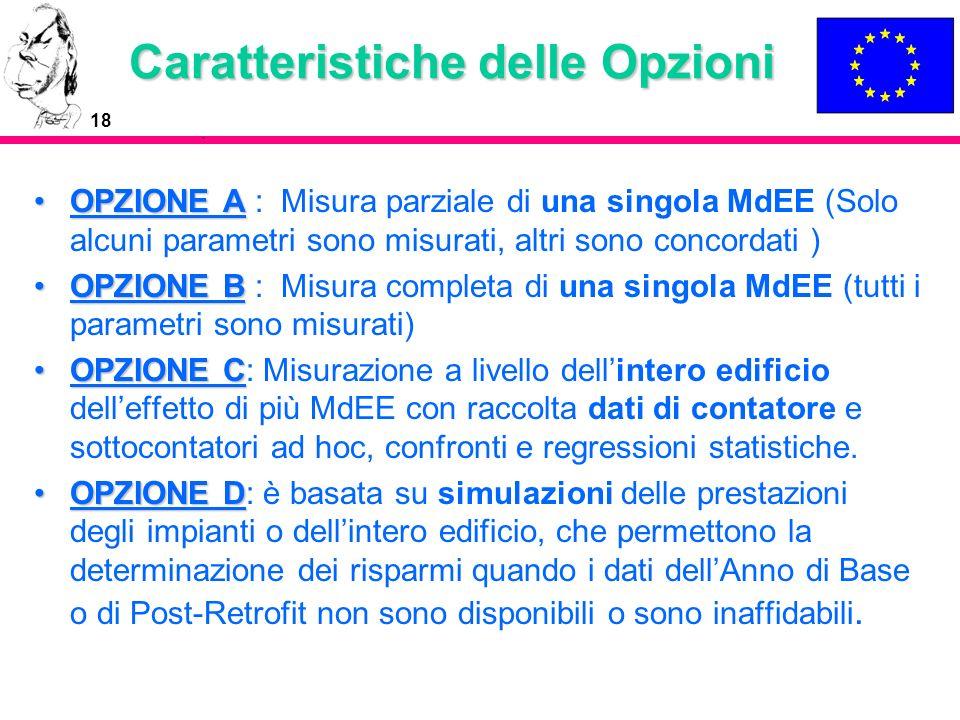 18 Caratteristiche delle Opzioni OPZIONE AOPZIONE A : Misura parziale di una singola MdEE (Solo alcuni parametri sono misurati, altri sono concordati