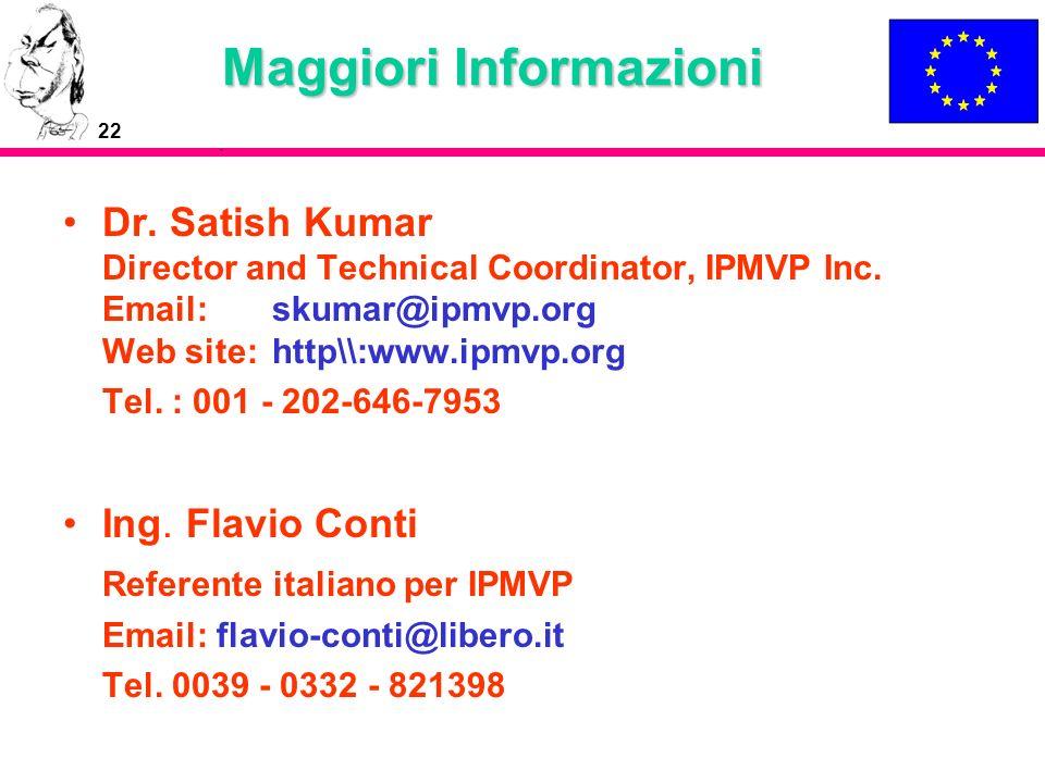 22 Maggiori Informazioni Dr. Satish Kumar Director and Technical Coordinator, IPMVP Inc. Email: skumar@ipmvp.org Web site: http\\:www.ipmvp.org Tel. :