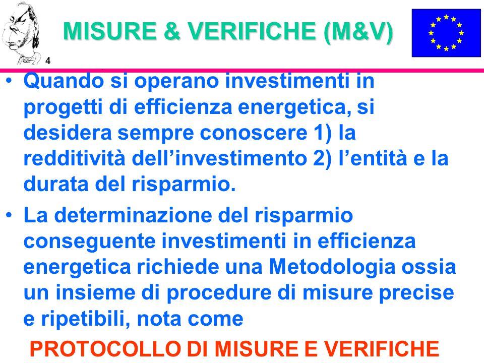 4 MISURE & VERIFICHE (M&V) Quando si operano investimenti in progetti di efficienza energetica, si desidera sempre conoscere 1) la redditività dellinv
