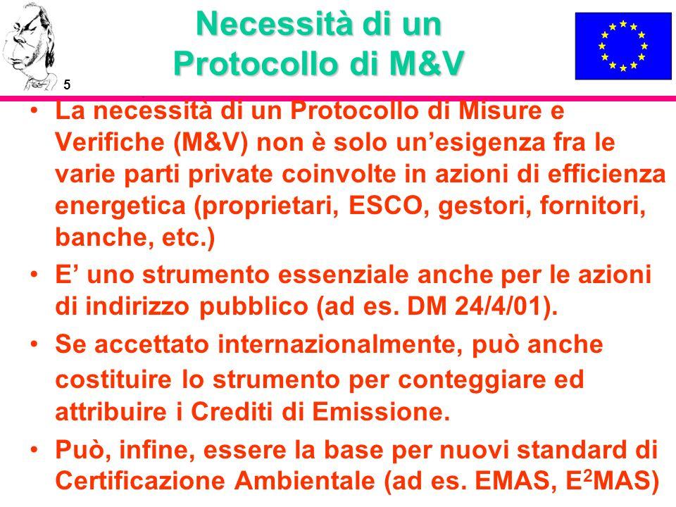 5 Necessità di un Protocollo di M&V La necessità di un Protocollo di Misure e Verifiche (M&V) non è solo unesigenza fra le varie parti private coinvol