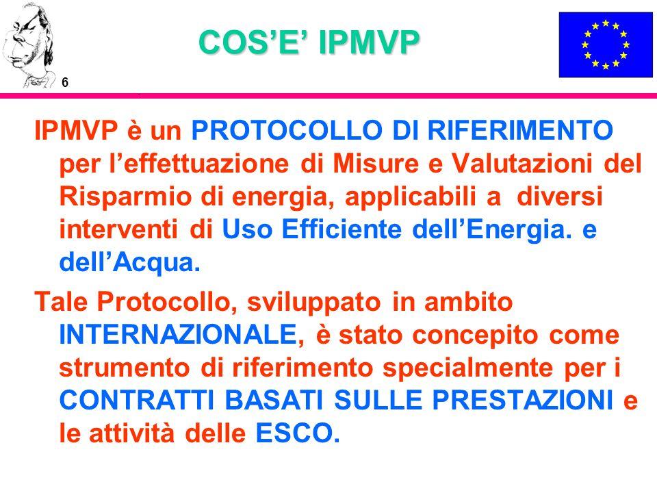 7 COSE IPMVP IPMVP è un documento che descrive procedure standard che, se implementate, permettono ai proprietari di immobili, compagnie di Servizio Energetico (ESCOs), ed ai finanziatori di progetti di efficienza energetica negli edifici di quantificare correttamente i parametri caratterizzanti le Misure di Risparmio di Energia (ECM), il relativo risparmio di energia e quindi i ritorni economici.