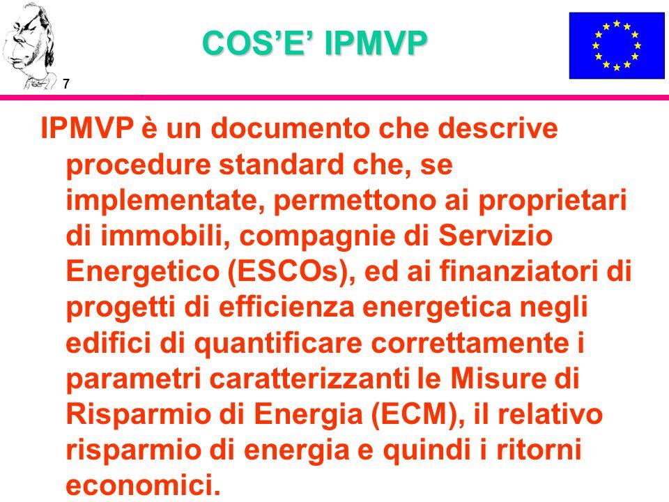 7 COSE IPMVP IPMVP è un documento che descrive procedure standard che, se implementate, permettono ai proprietari di immobili, compagnie di Servizio E