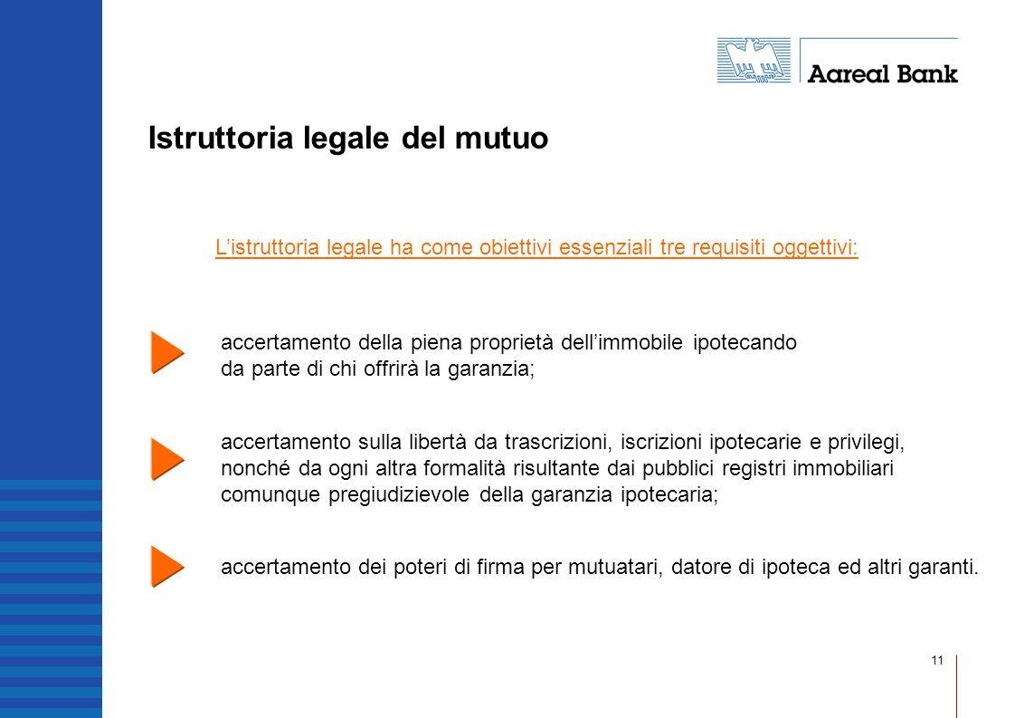 11 Istruttoria legale del mutuo accertamento della piena proprietà dellimmobile ipotecando da parte di chi offrirà la garanzia; accertamento sulla lib