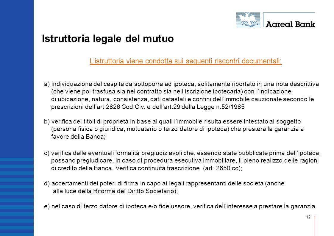 12 Istruttoria legale del mutuo Listruttoria viene condotta sui seguenti riscontri documentali: b) verifica dei titoli di proprietà in base ai quali l