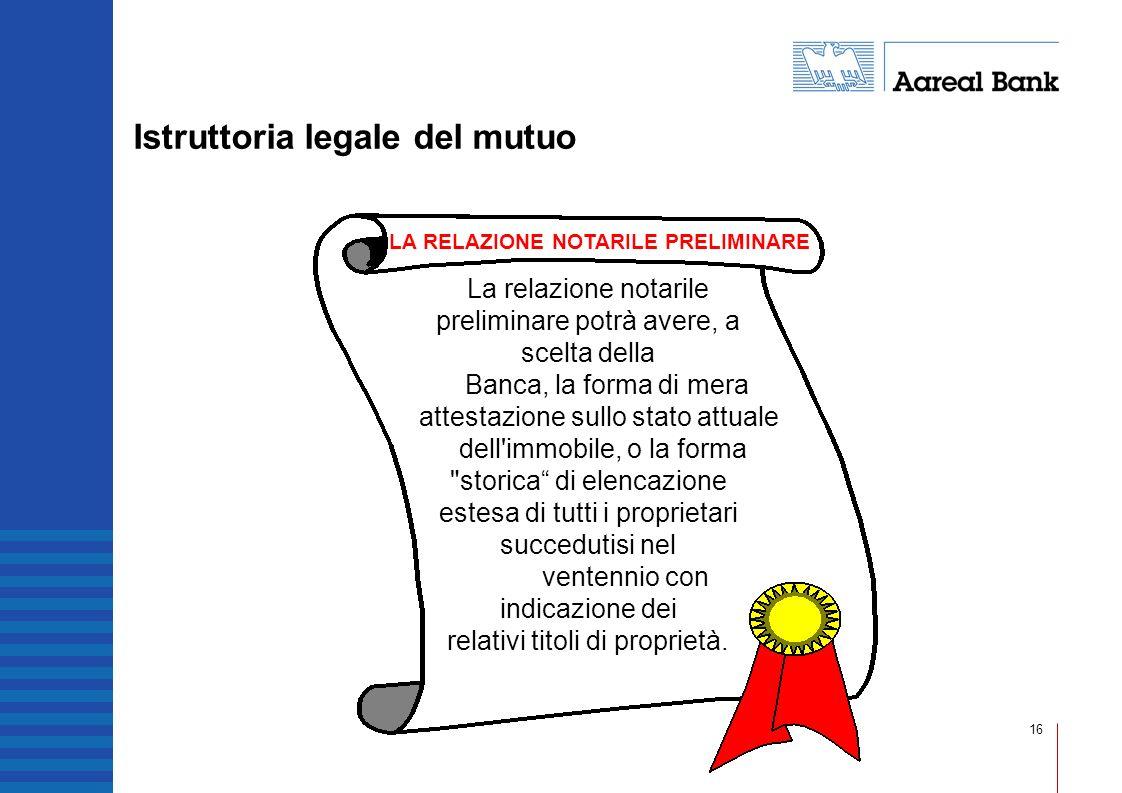 16 Istruttoria legale del mutuo La relazione notarile preliminare potrà avere, a scelta della Banca, la forma di mera attestazione sullo stato attuale