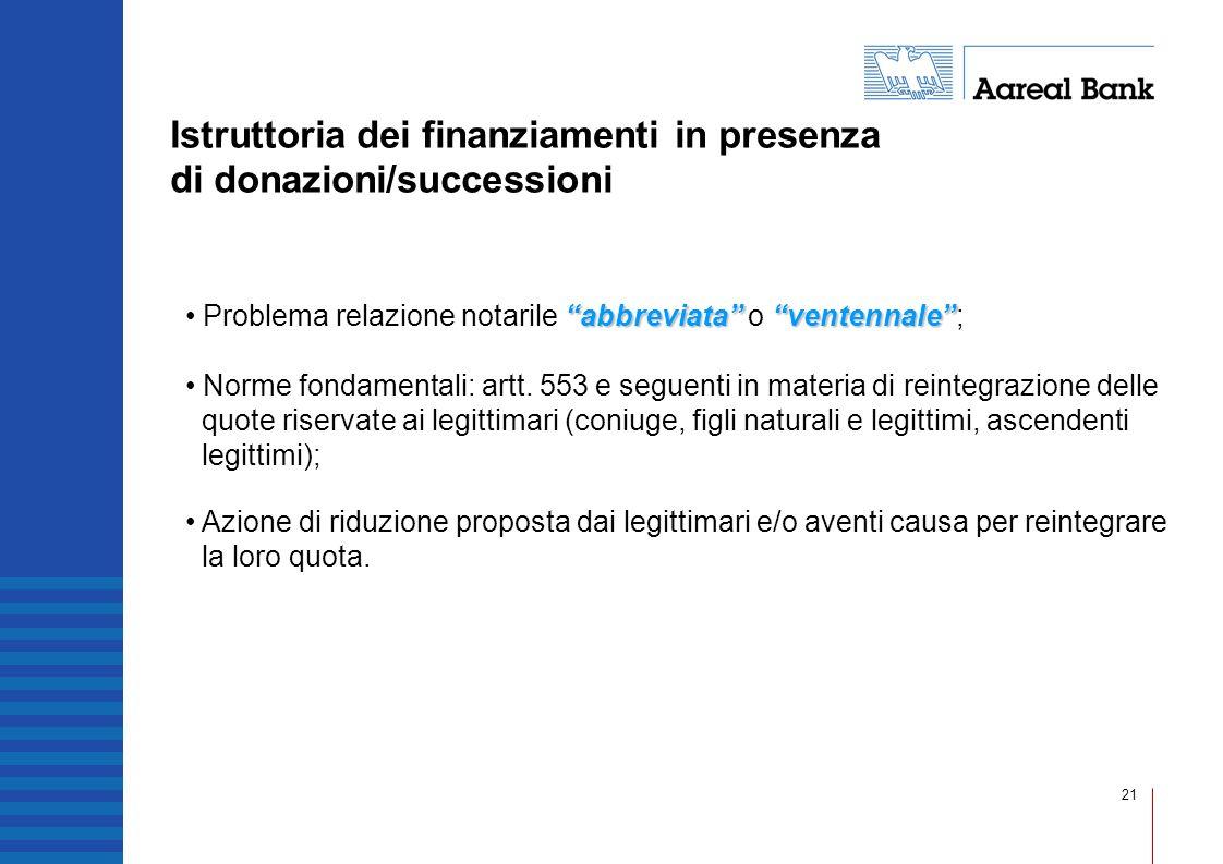 21 Istruttoria dei finanziamenti in presenza di donazioni/successioni abbreviataventennale Problema relazione notarile abbreviata o ventennale; Norme