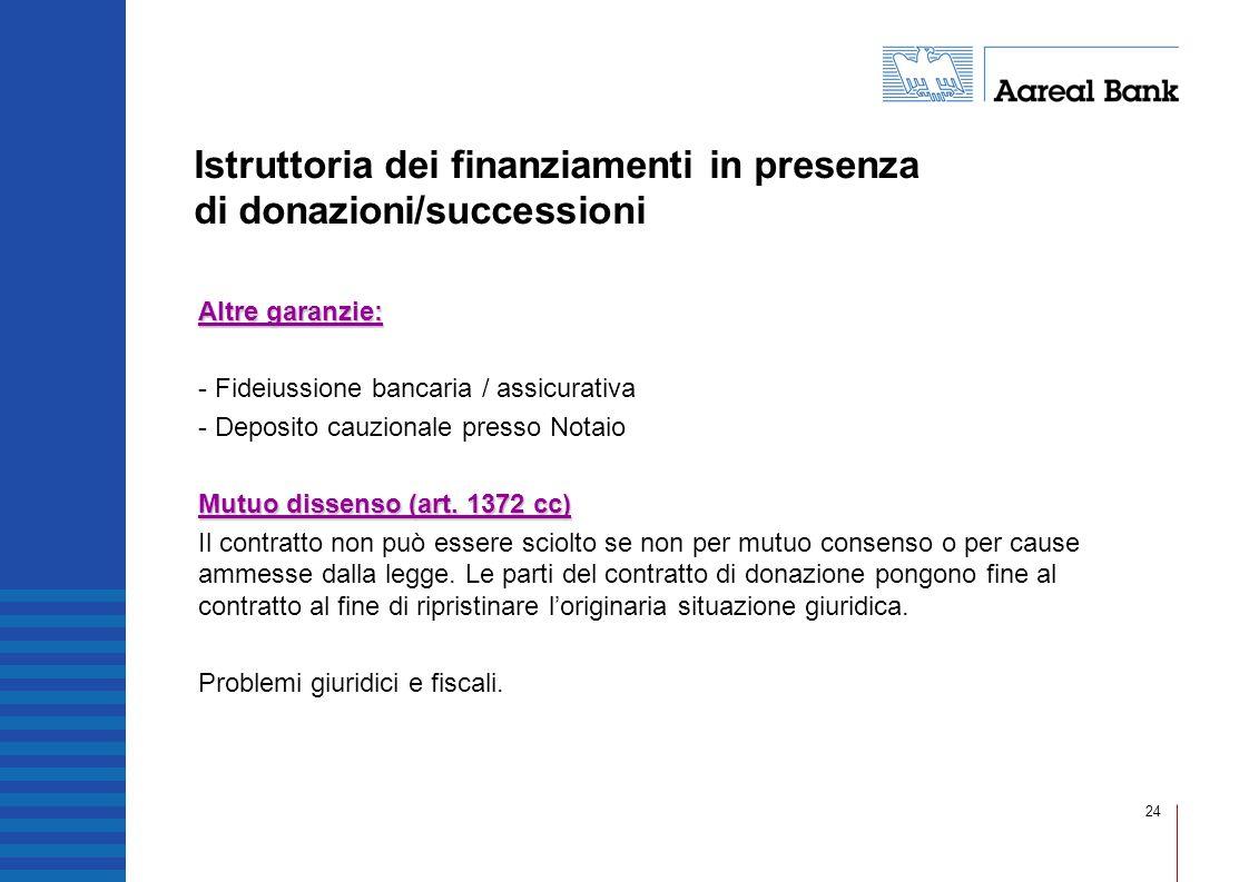 24 Istruttoria dei finanziamenti in presenza di donazioni/successioni Altre garanzie: - Fideiussione bancaria / assicurativa - Deposito cauzionale pre