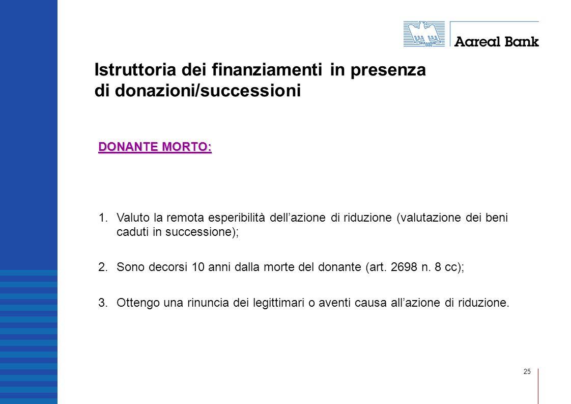 25 Istruttoria dei finanziamenti in presenza di donazioni/successioni DONANTE MORTO: 1.Valuto la remota esperibilità dellazione di riduzione (valutazi