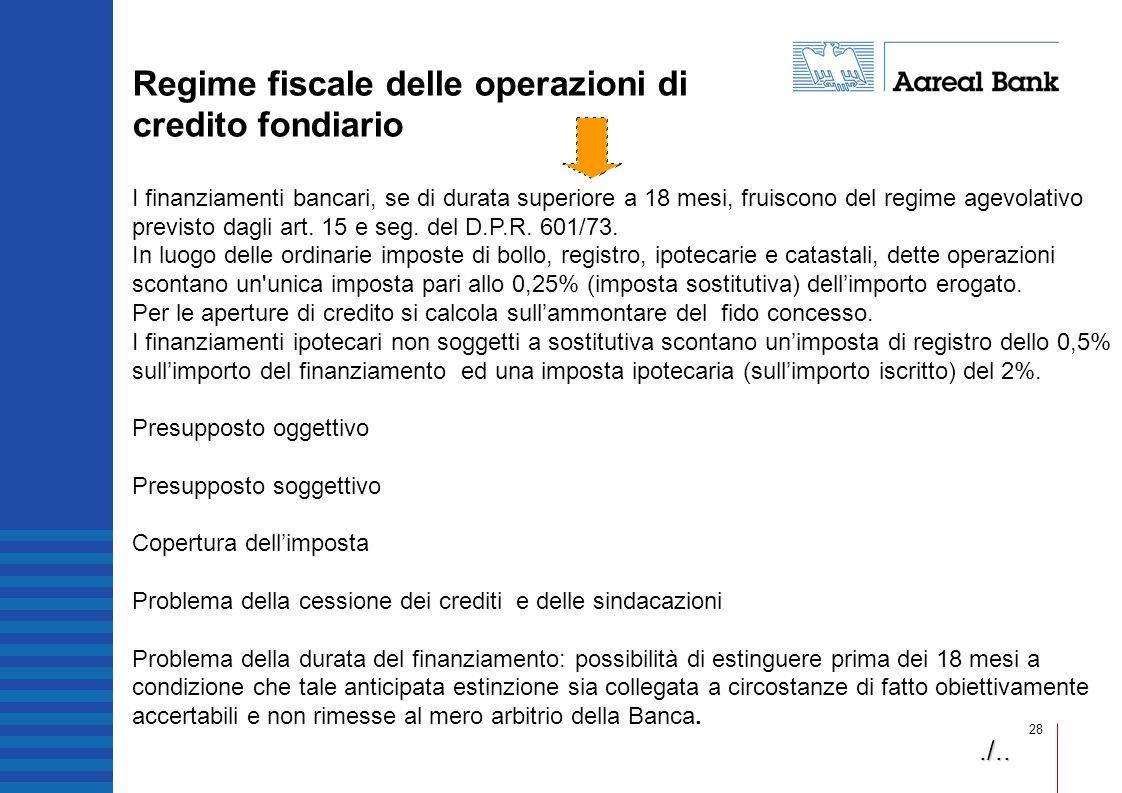 28 I finanziamenti bancari, se di durata superiore a 18 mesi, fruiscono del regime agevolativo previsto dagli art. 15 e seg. del D.P.R. 601/73. In luo