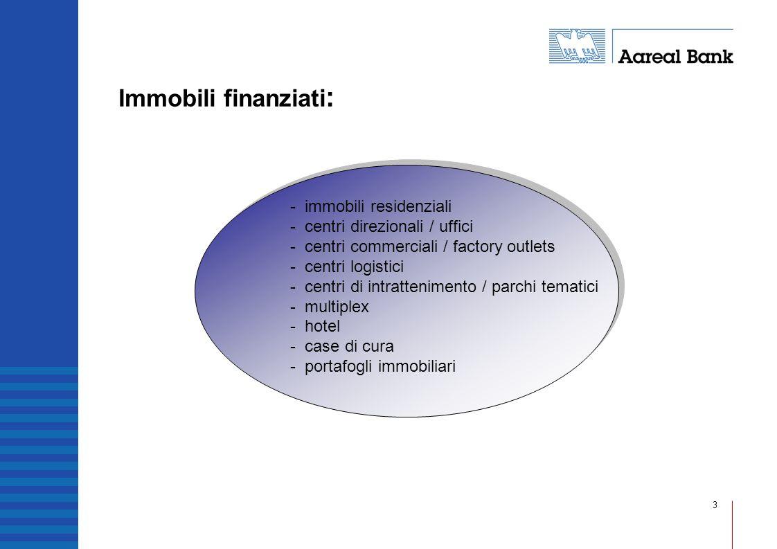 3 Immobili finanziati : - immobili residenziali - centri direzionali / uffici - centri commerciali / factory outlets - centri logistici - centri di in