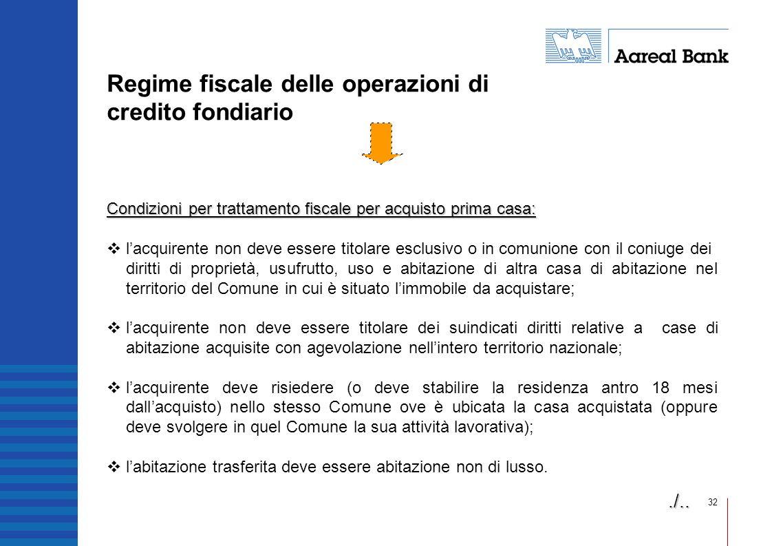 32 Regime fiscale delle operazioni di credito fondiario Condizioni per trattamento fiscale per acquisto prima casa: lacquirente non deve essere titola