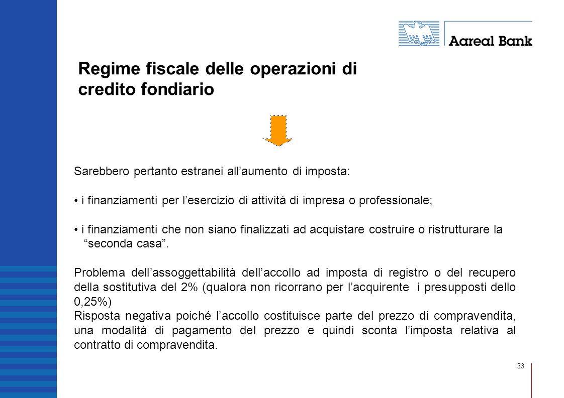 33 Regime fiscale delle operazioni di credito fondiario Sarebbero pertanto estranei allaumento di imposta: i finanziamenti per lesercizio di attività