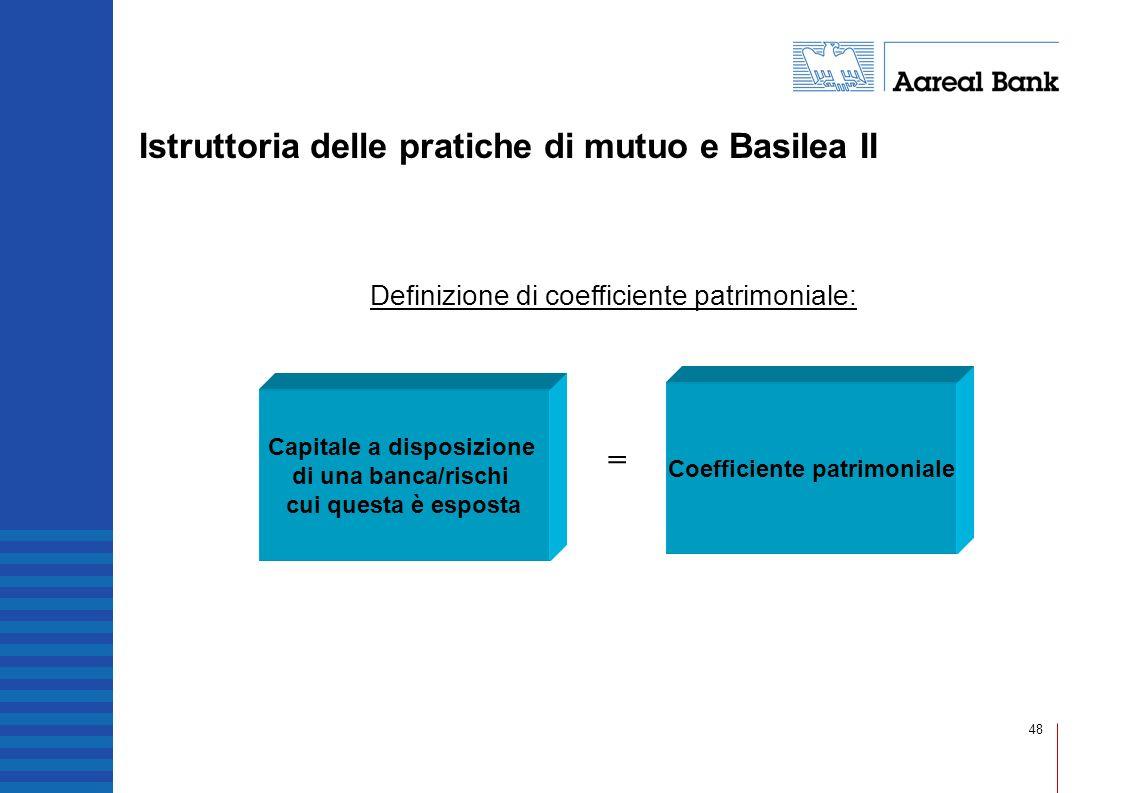 48 Definizione di coefficiente patrimoniale: Capitale a disposizione di una banca/rischi cui questa è esposta Coefficiente patrimoniale = Istruttoria