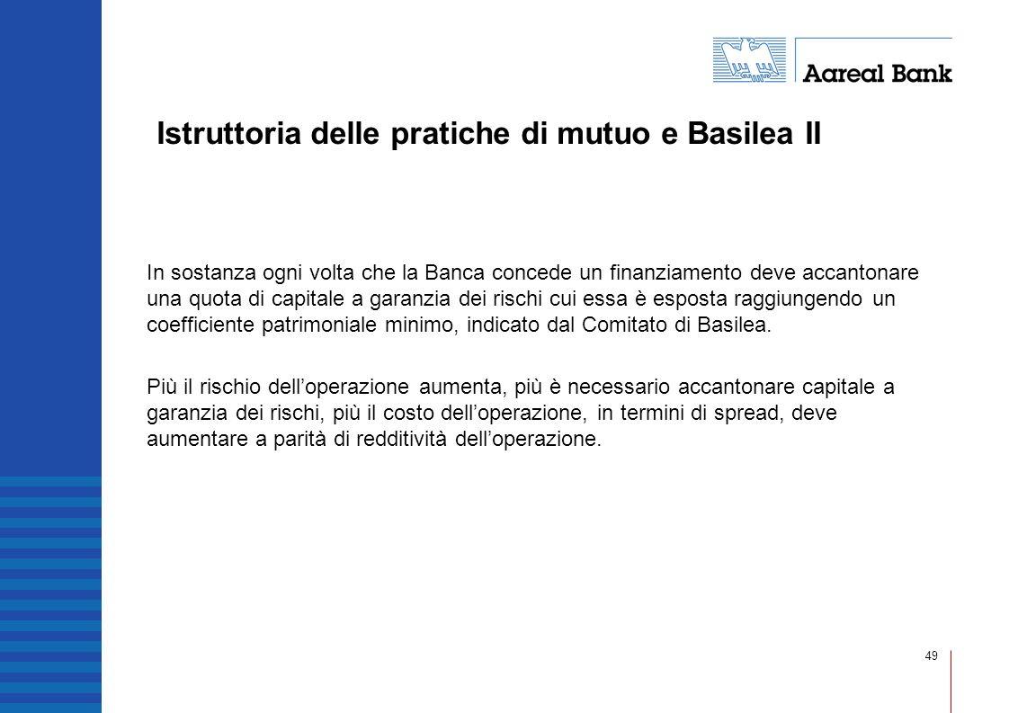 49 Istruttoria delle pratiche di mutuo e Basilea II In sostanza ogni volta che la Banca concede un finanziamento deve accantonare una quota di capital