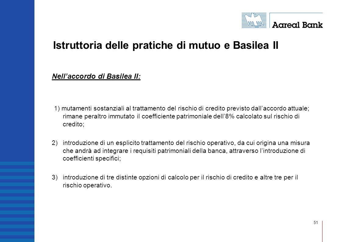 51 Istruttoria delle pratiche di mutuo e Basilea II Nellaccordo di Basilea II: 1) mutamenti sostanziali al trattamento del rischio di credito previsto