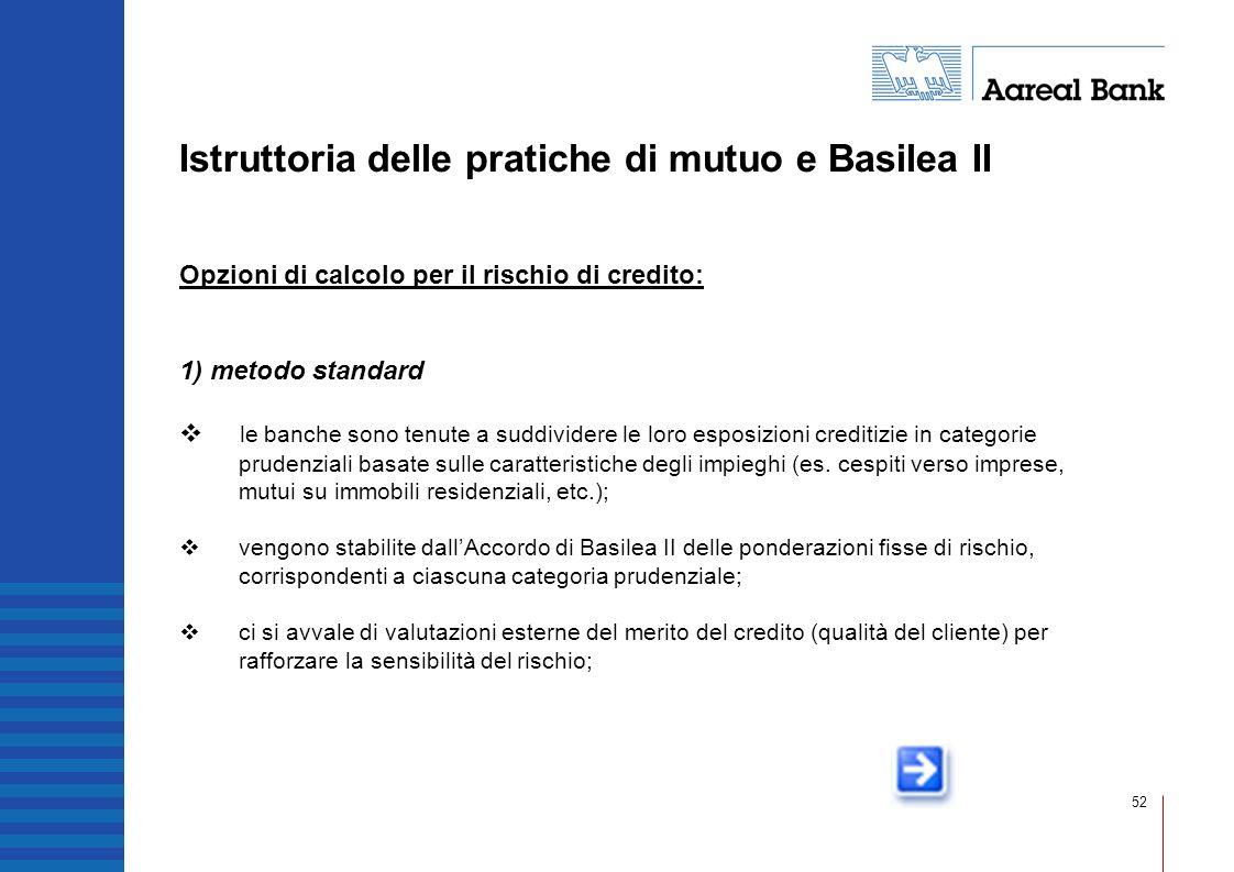 52 Istruttoria delle pratiche di mutuo e Basilea II Opzioni di calcolo per il rischio di credito: 1) metodo standard le banche sono tenute a suddivide