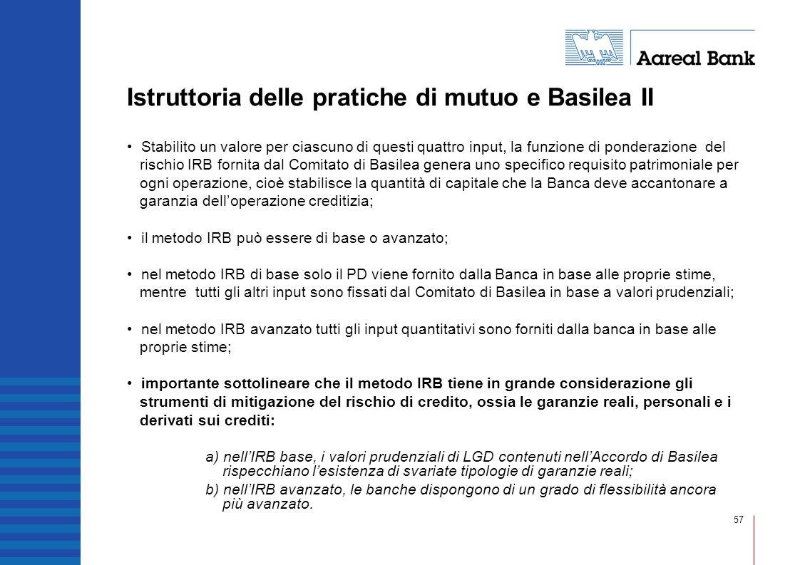 57 Istruttoria delle pratiche di mutuo e Basilea II Stabilito un valore per ciascuno di questi quattro input, la funzione di ponderazione del rischio