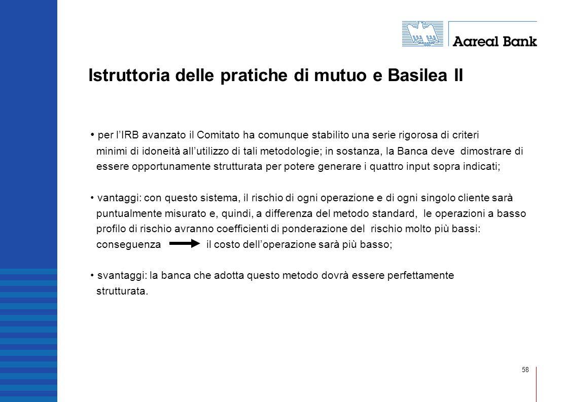 58 Istruttoria delle pratiche di mutuo e Basilea II per lIRB avanzato il Comitato ha comunque stabilito una serie rigorosa di criteri minimi di idonei