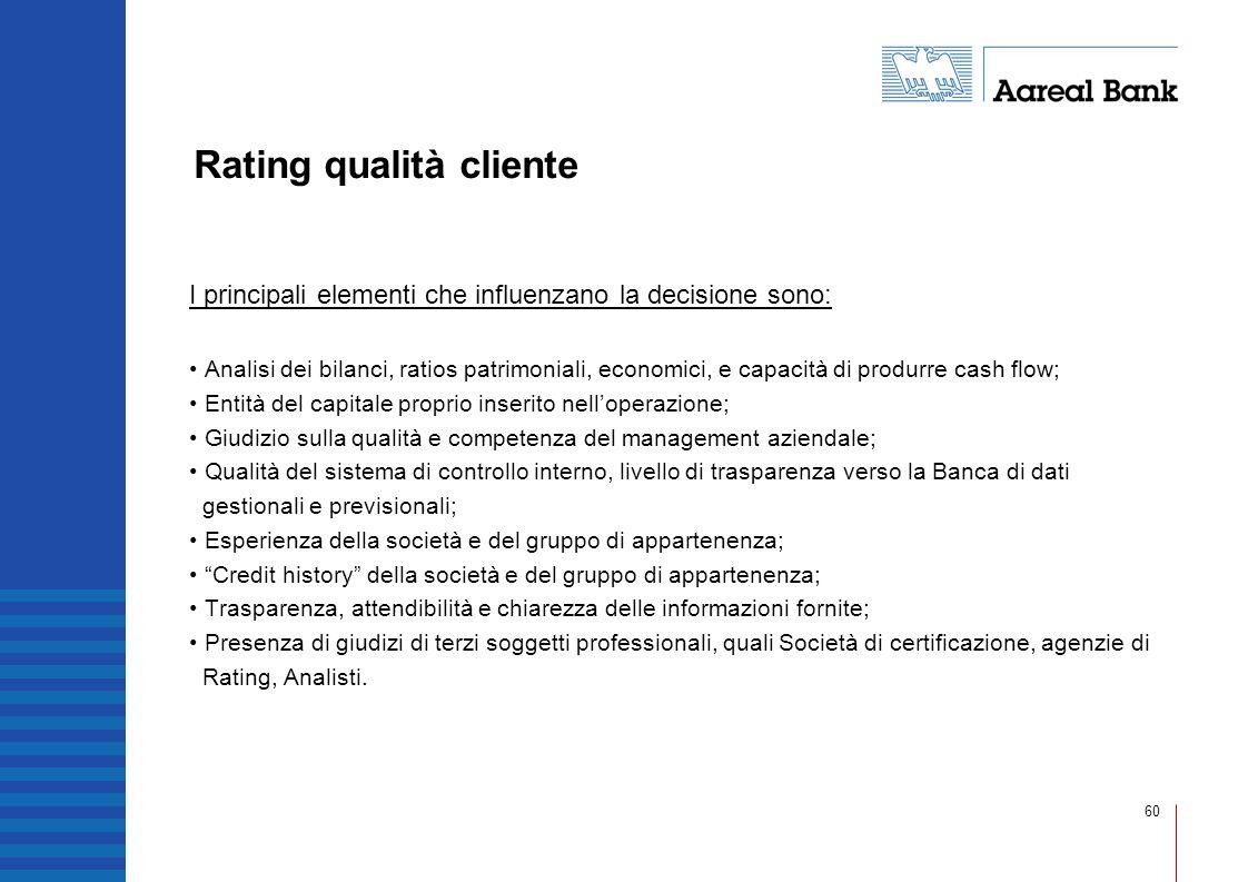60 Rating qualità cliente I principali elementi che influenzano la decisione sono: Analisi dei bilanci, ratios patrimoniali, economici, e capacità di