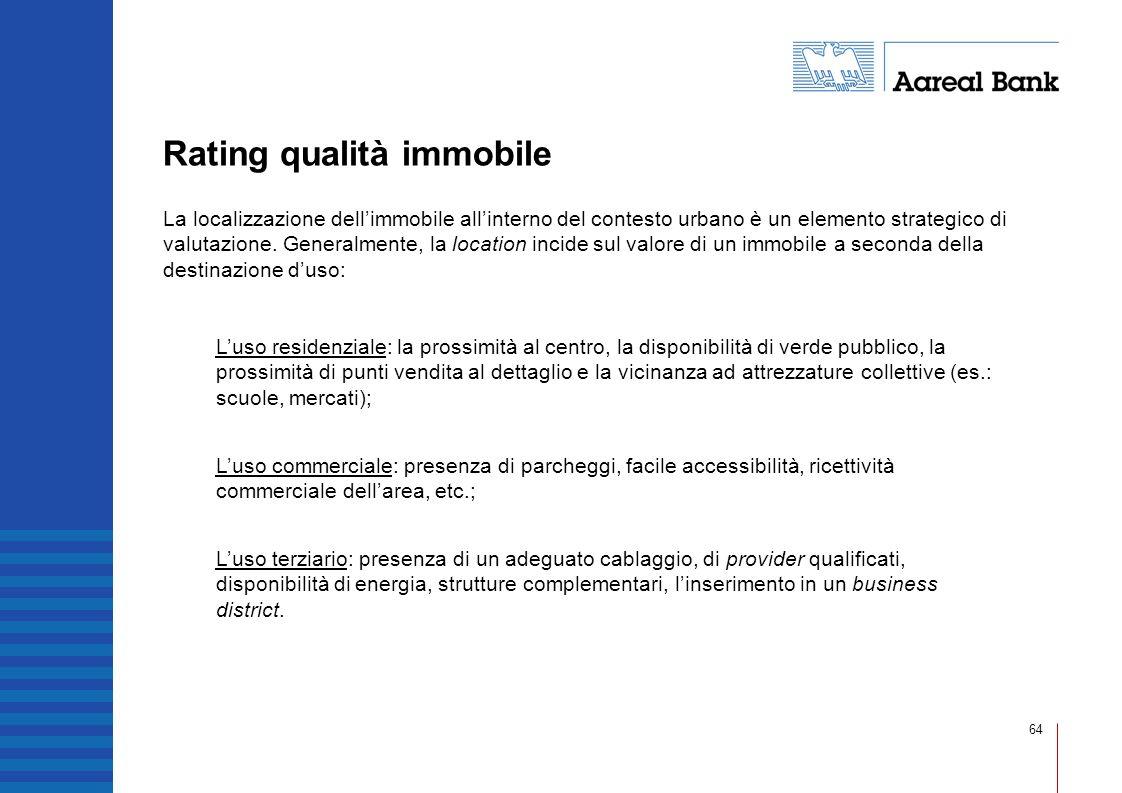 64 Rating qualità immobile La localizzazione dellimmobile allinterno del contesto urbano è un elemento strategico di valutazione. Generalmente, la loc
