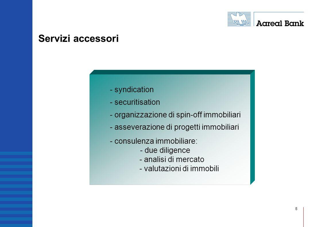 8 Servizi accessori - syndication - securitisation - organizzazione di spin-off immobiliari - asseverazione di progetti immobiliari - consulenza immob