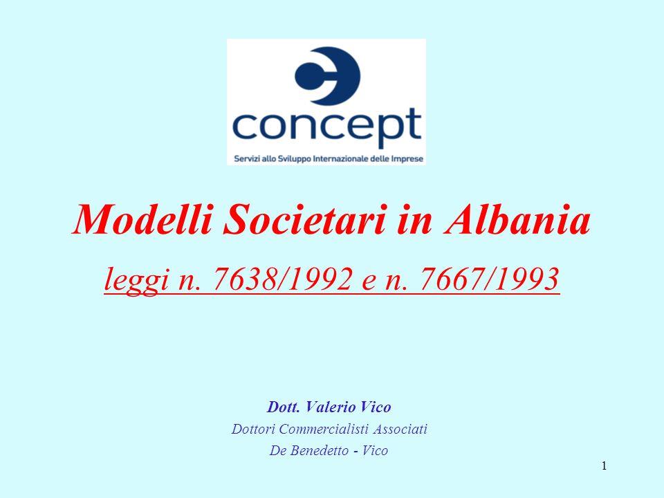 1 Modelli Societari in Albania leggi n. 7638/1992 e n. 7667/1993 Dott. Valerio Vico Dottori Commercialisti Associati De Benedetto - Vico