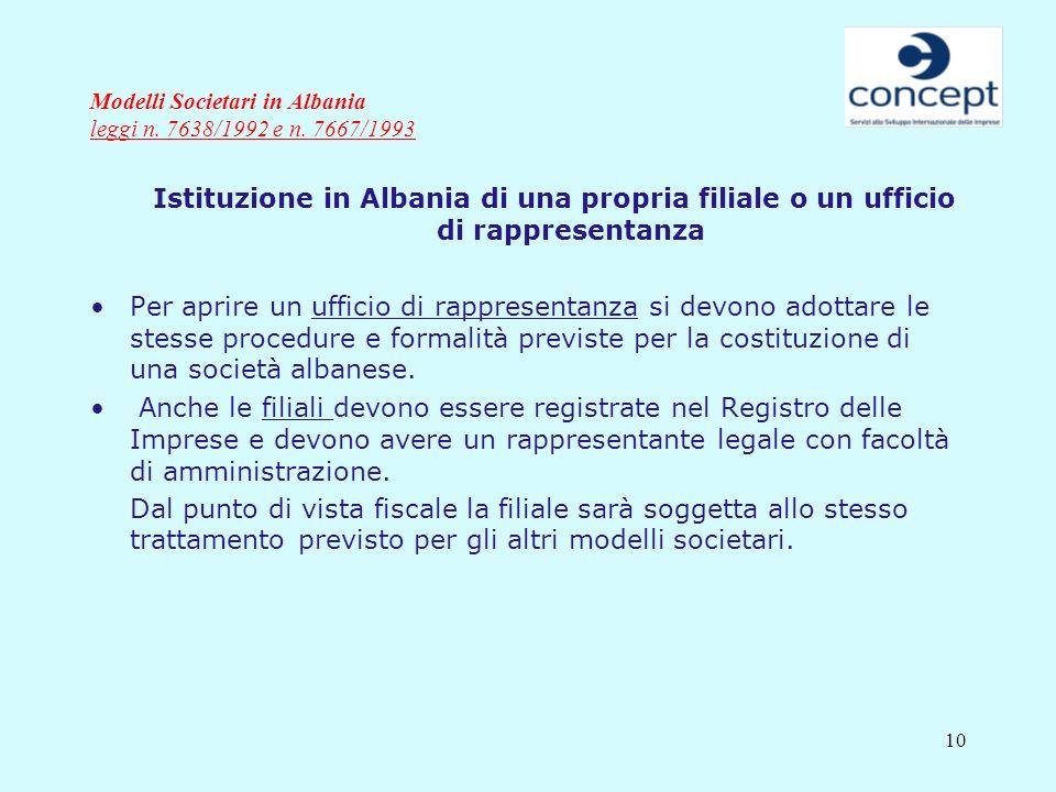 10 Modelli Societari in Albania leggi n. 7638/1992 e n. 7667/1993 Istituzione in Albania di una propria filiale o un ufficio di rappresentanza Per apr