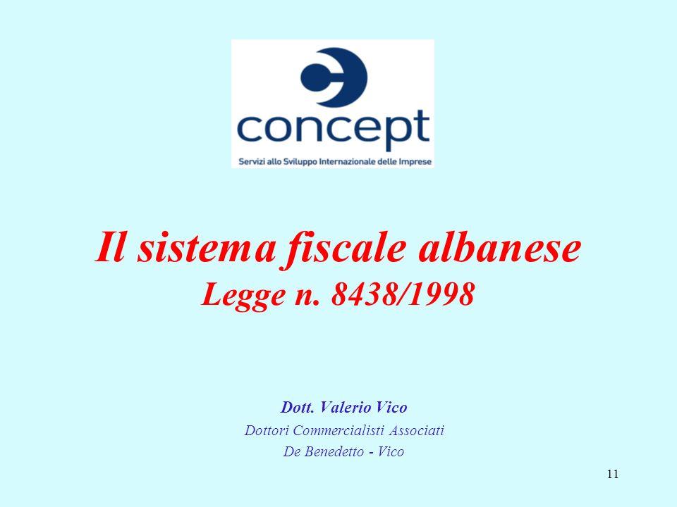 11 Il sistema fiscale albanese Legge n. 8438/1998 Dott. Valerio Vico Dottori Commercialisti Associati De Benedetto - Vico