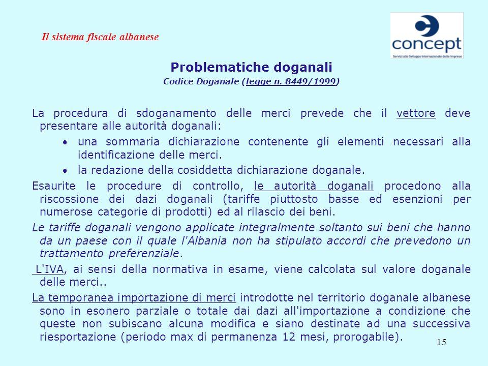 15 Il sistema fiscale albanese Problematiche doganali Codice Doganale (legge n. 8449/1999) La procedura di sdoganamento delle merci prevede che il vet