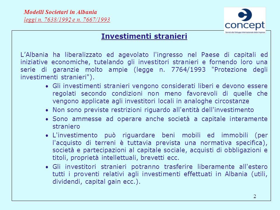 2 Modelli Societari in Albania leggi n. 7638/1992 e n. 7667/1993 Investimenti stranieri LAlbania ha liberalizzato ed agevolato l'ingresso nel Paese di