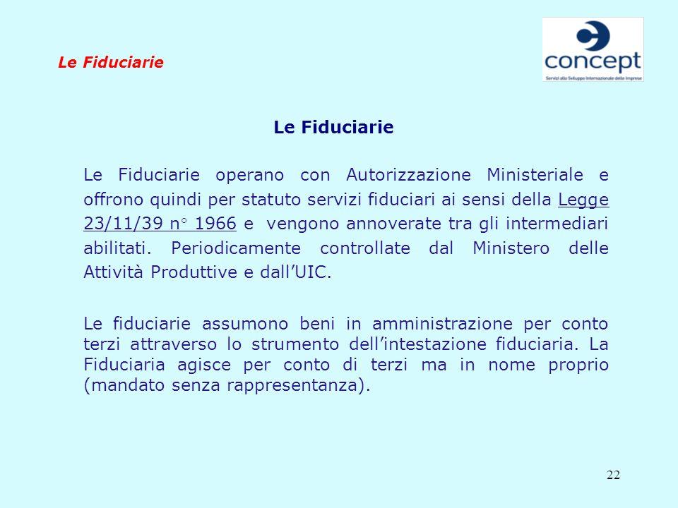 22 Le Fiduciarie Le Fiduciarie operano con Autorizzazione Ministeriale e offrono quindi per statuto servizi fiduciari ai sensi della Legge 23/11/39 n°