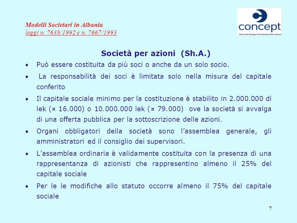 7 Modelli Societari in Albania leggi n. 7638/1992 e n. 7667/1993 Società per azioni (Sh.A.) Può essere costituita da più soci o anche da un solo socio