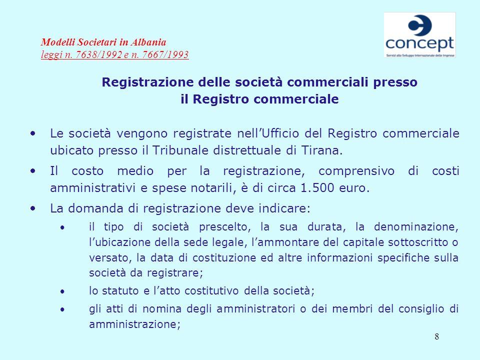 8 Modelli Societari in Albania leggi n. 7638/1992 e n. 7667/1993 Registrazione delle società commerciali presso il Registro commerciale Le società ven