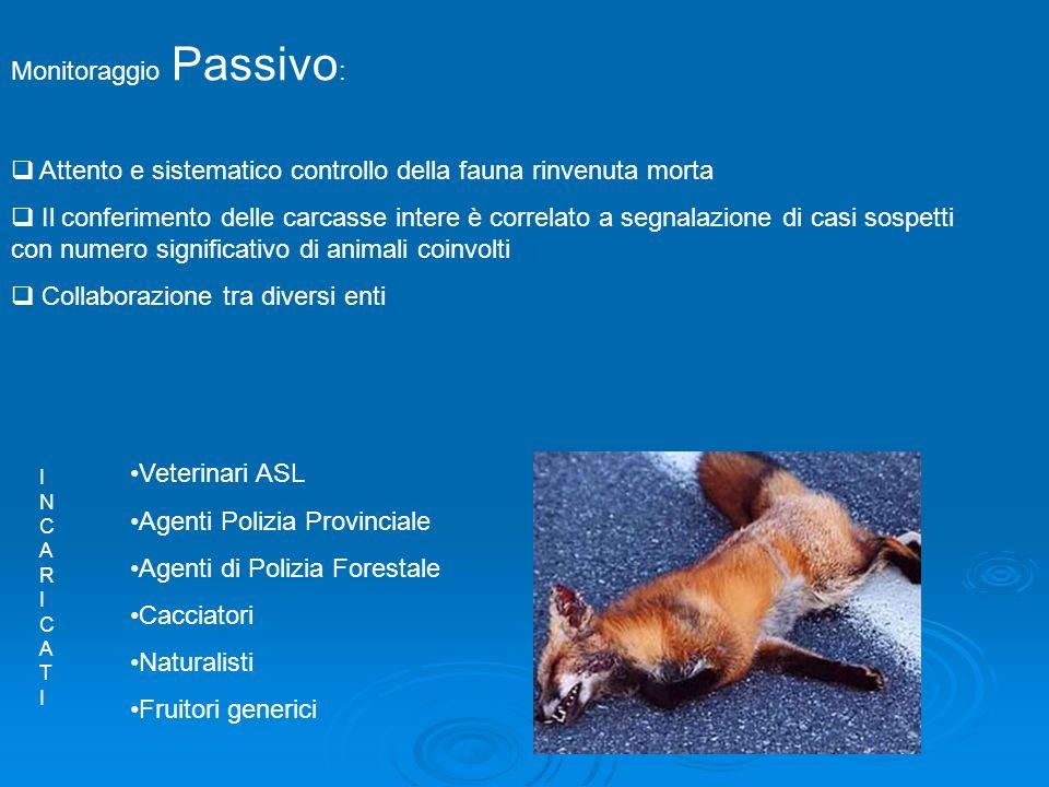 Piano regionale: Monitoraggio Attivo : Attività di campionamento programmata che garantisce la possibilità di valutare la presenza/assenza negli animali selvatici di specifici agenti patogeni.
