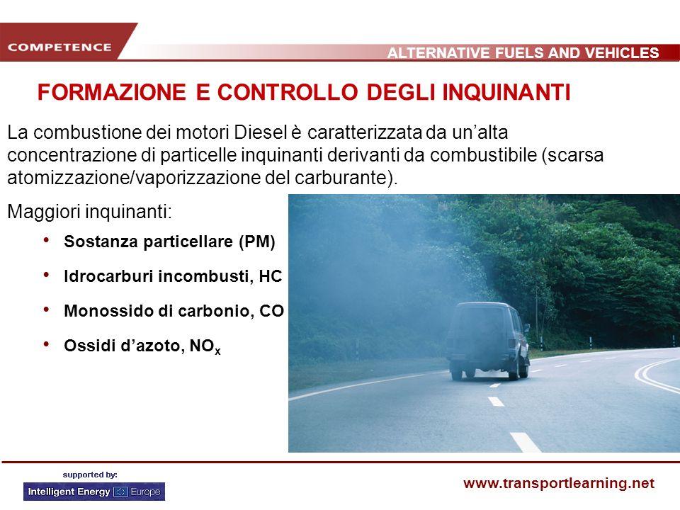 ALTERNATIVE FUELS AND VEHICLES www.transportlearning.net FORMAZIONE E CONTROLLO DEGLI INQUINANTI La combustione dei motori Diesel è caratterizzata da