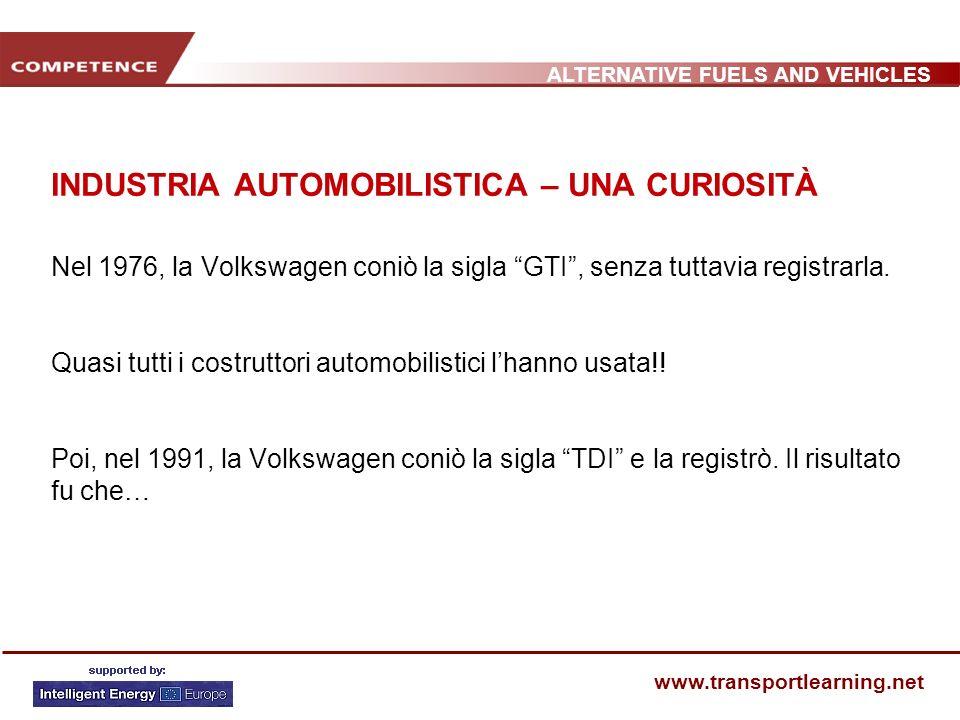 ALTERNATIVE FUELS AND VEHICLES www.transportlearning.net INDUSTRIA AUTOMOBILISTICA – UNA CURIOSITÀ Nel 1976, la Volkswagen coniò la sigla GTI, senza t