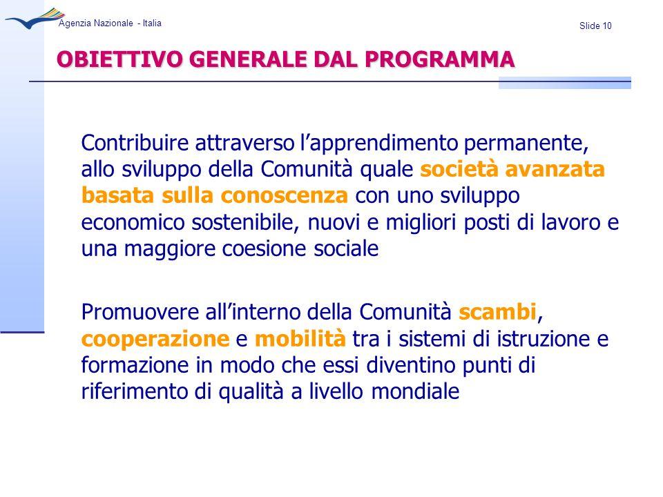 Slide 10 Agenzia Nazionale - Italia OBIETTIVO GENERALE DAL PROGRAMMA Contribuire attraverso lapprendimento permanente, allo sviluppo della Comunità qu