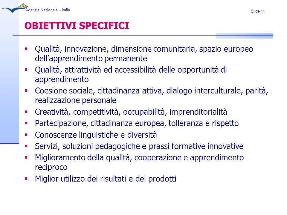 Slide 11 Agenzia Nazionale - Italia OBIETTIVI SPECIFICI Qualità, innovazione, dimensione comunitaria, spazio europeo dellapprendimento permanente Qual