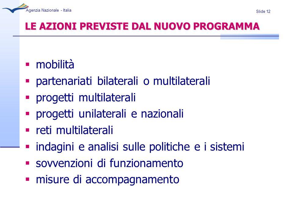 Slide 12 Agenzia Nazionale - Italia LE AZIONI PREVISTE DAL NUOVO PROGRAMMA mobilità partenariati bilaterali o multilaterali progetti multilaterali pro