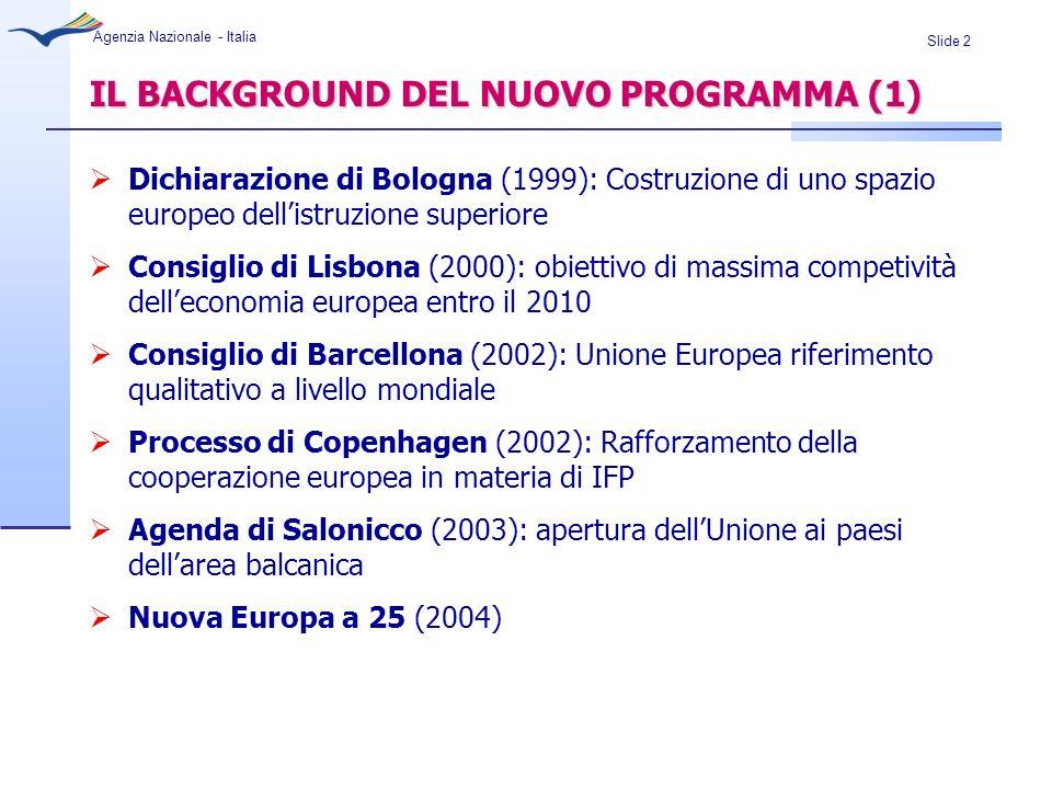 Slide 3 Agenzia Nazionale - Italia IL BACKGROUND DEL NUOVO PROGRAMMA (2) Valutazione intermedia dei Programmi: semplificazione e chiarezza nelle regole, sviluppo delle sinergie, maggiore valorizzazione degli esiti, rafforzamento delle connessioni tra politiche e programmi Consultazione pubblica (nov.