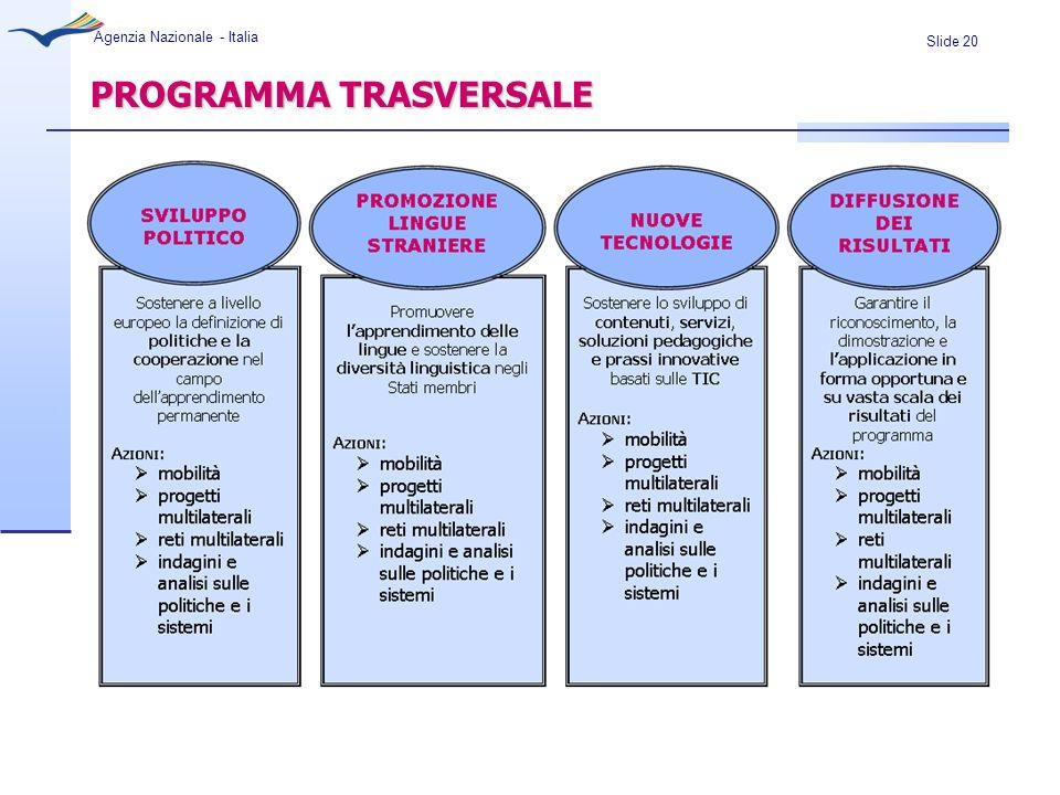 Slide 20 Agenzia Nazionale - Italia PROGRAMMA TRASVERSALE