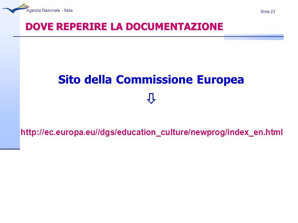 Slide 23 Agenzia Nazionale - Italia DOVE REPERIRE LA DOCUMENTAZIONE Sito della Commissione Europea http://ec.europa.eu//dgs/education_culture/newprog/